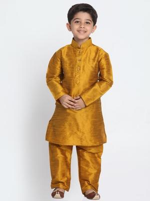 Blue printed silk blend boys-kurta-pyjama
