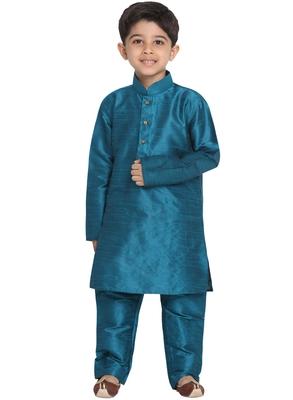 Turquoise Printed Silk Blend Boys Kurta Pyjama