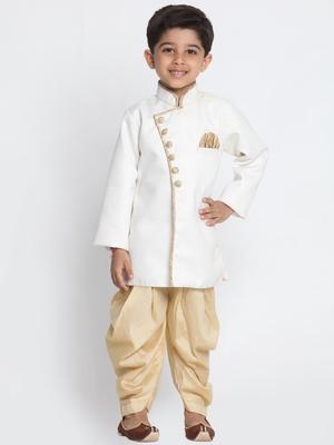 White Woven Blended Cotton Boys-Sherwani