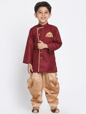 Maroon woven blended cotton boys-sherwani