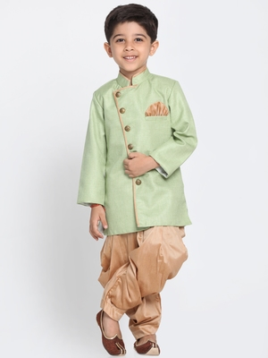 Green Woven Blended Cotton Boys-Sherwani