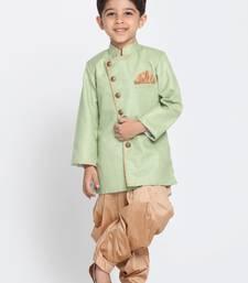 Green Woven Blended Cotton Boys-Sherwani