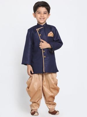Blue Woven Blended Cotton Boys-Sherwani