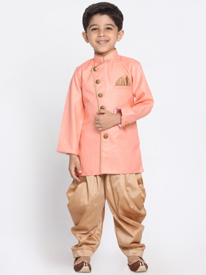 Pink woven blended cotton boys-sherwani