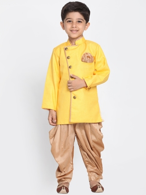 Yellow Woven Blended Cotton Boys-Sherwani