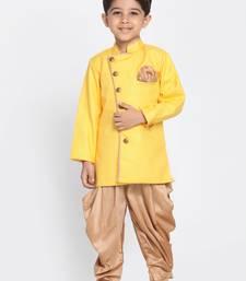 Yellow Woven Blended Cotton Boys-Sherwani