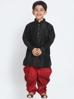 Black printed silk blend boys-dhoti-kurta