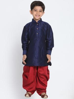 Blue Printed Silk Blend Boys-Dhoti-Kurta