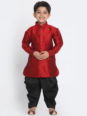 Maroon Printed Silk Blend Boys-Dhoti-Kurta