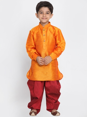 Orange Printed Silk Blend Boys-Dhoti-Kurta