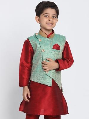 Green printed silk blend boys-nehru-jacket