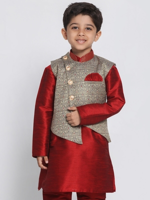 Grey Printed Silk Blend Boys-Nehru-Jacket