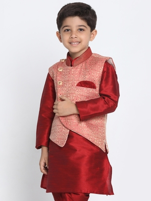Pink printed silk blend boys-nehru-jacket