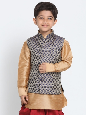 Blue printed blended cotton boys-nehru-jacket