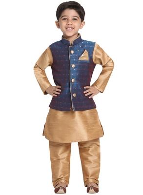 Blue Printed Blended Cotton Boys-Nehru-Jacket