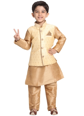 Gold Printed Blended Cotton Boys-Nehru-Jacket