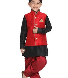 Maroon Printed Blended Cotton Boys-Nehru-Jacket