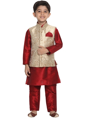 Gold Printed Blended Cotton Boys-Nehru-Jacket