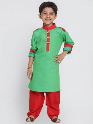 Green printed cotton boys-pyjama-kurta