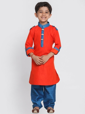 Red Printed Cotton Boys Pyjama Kurta