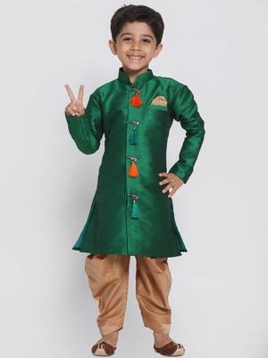 Green woven silk blend boys-sherwani