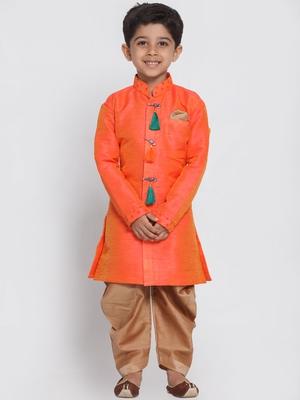Orange woven silk blend boys-sherwani
