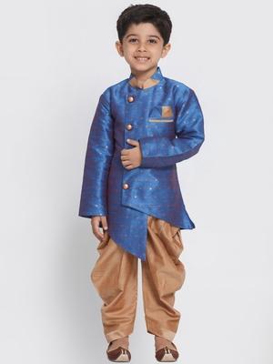 Blue woven silk blend boys-sherwani