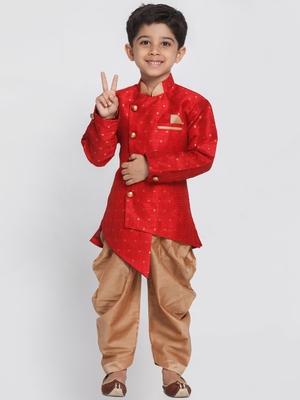 Maroon Woven Silk Blend Boys-Sherwani