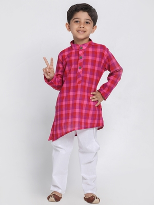 Purple printed cotton boys-kurta-pyjama