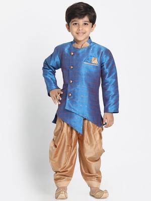 Blue woven cotton silk boys-sherwani