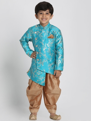 Blue Woven Cotton Silk Boys-Sherwani