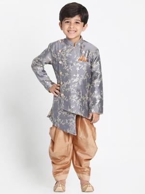 Grey woven cotton silk boys-sherwani