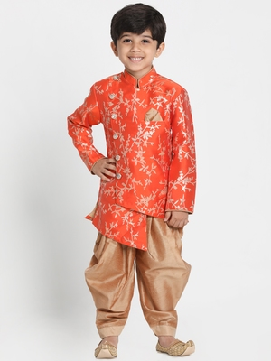 Orange Woven Cotton Silk Boys-Sherwani