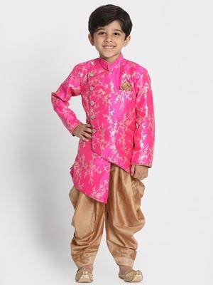 Pink Woven Cotton Silk Boys-Sherwani