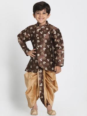 Brown Woven Blended Cotton Boys-Sherwani