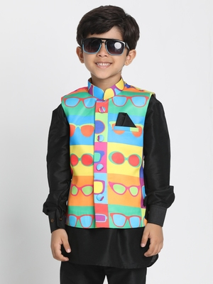 Multicolor Printed Silk Blend Boys Nehru Jacket