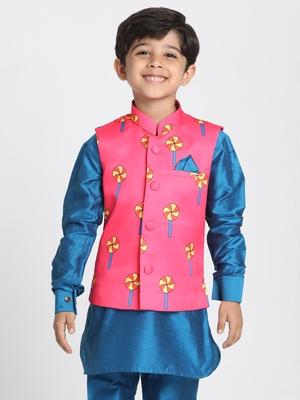 Pink printed silk blend boys-nehru-jacket