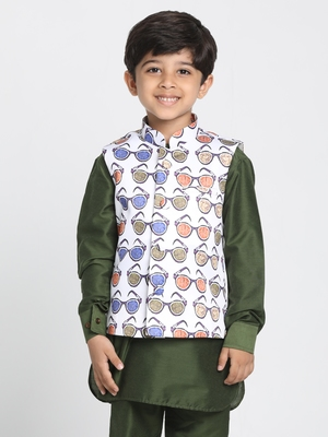 White Printed Silk Blend Boys Nehru Jacket