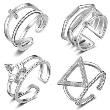 Silver crystal rings