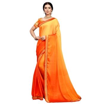 Orange plain art silk saree