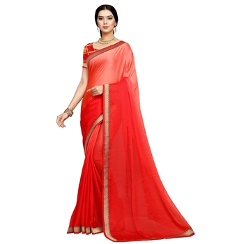 Red plain art silk saree