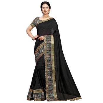 Black plain art silk saree