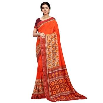 Orange embroidered silk blend saree