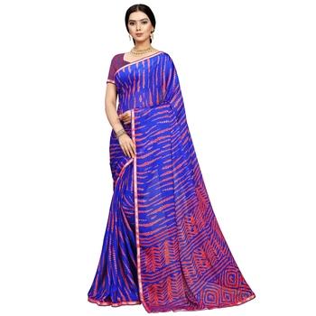 Blue printed silk blend saree