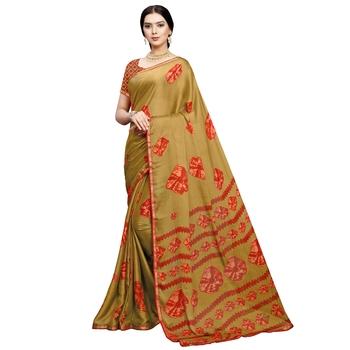 Mehendi printed silk blend saree