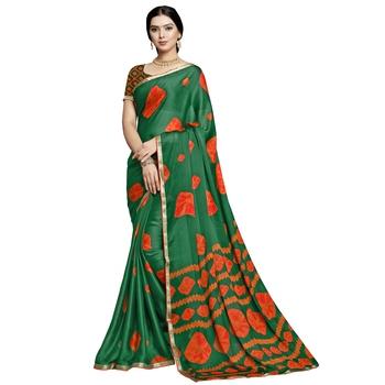 Turquoise printed silk blend saree