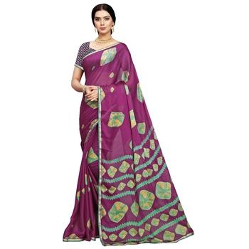 Wine printed silk blend saree