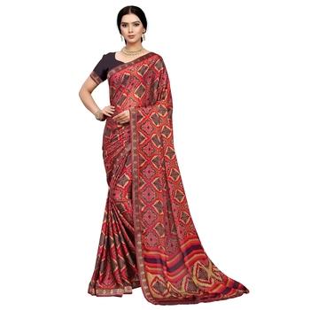 Red printed silk blend saree