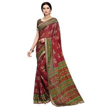 Red printed art silk saree