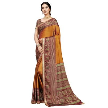 Yellow printed silk blend saree